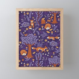 Foxes Playing in a Purple Forest Framed Mini Art Print