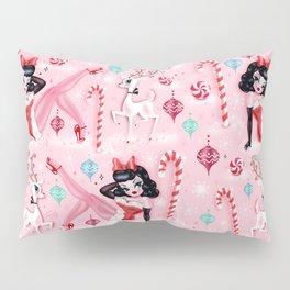 Christmas Pinup Girl with Reindeer Pillow Sham