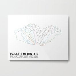 Ragged Mountain, NH - Minimalist Winter Trail Art Metal Print