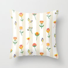 Paper Cut Flowers Throw Pillow