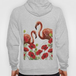 Two flamingos in Poppies field Hoody