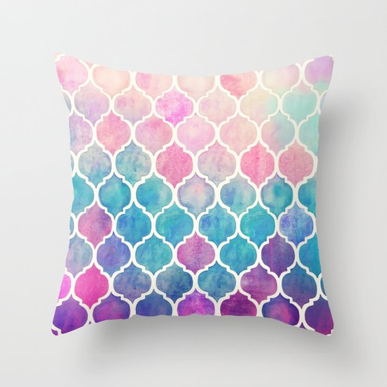 rainbow pastel watercolor moroccan pattern throw pillow by m