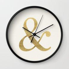 Gold Glitter Ampersand Wall Clock