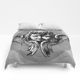 Cherub Face   Angel   Vintage cherub   Vintage angel   Angel decor Comforters