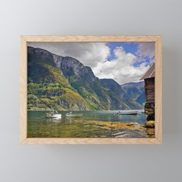 Clear water of fjords Framed Mini Art Print