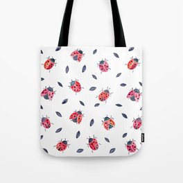 Lucky Ladybugs & Black Leaves Tote Bag