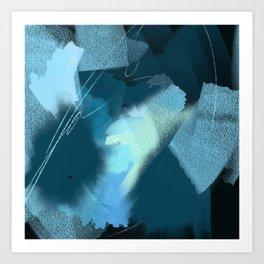 Midnight Blossom: an abstract, mixed media piece in dark and light blue / greens by Alyssa Hamilton Art Print