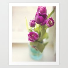 Purple Tulips in a jar Art Print
