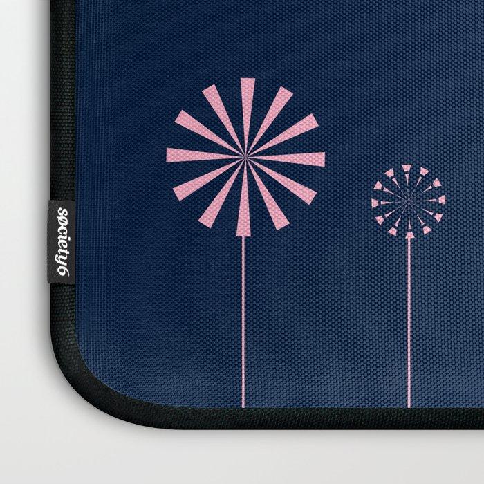 Pink Flowers at Night Pattern Laptop Sleeve