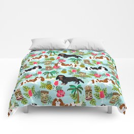 Cavalier King Charles Spaniel tiki hawaiian island tropical dog breed pattern dogs Comforters