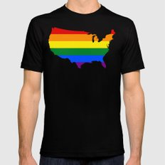 United States Gay Pride Flag (LGBT)  X-LARGE Mens Fitted Tee Black
