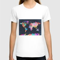 world maps T-shirts featuring World map by Bekim ART