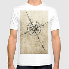 Compass White MEDIUM Mens Fitted Tee