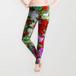 Colorful Petunia Flowers Leggings