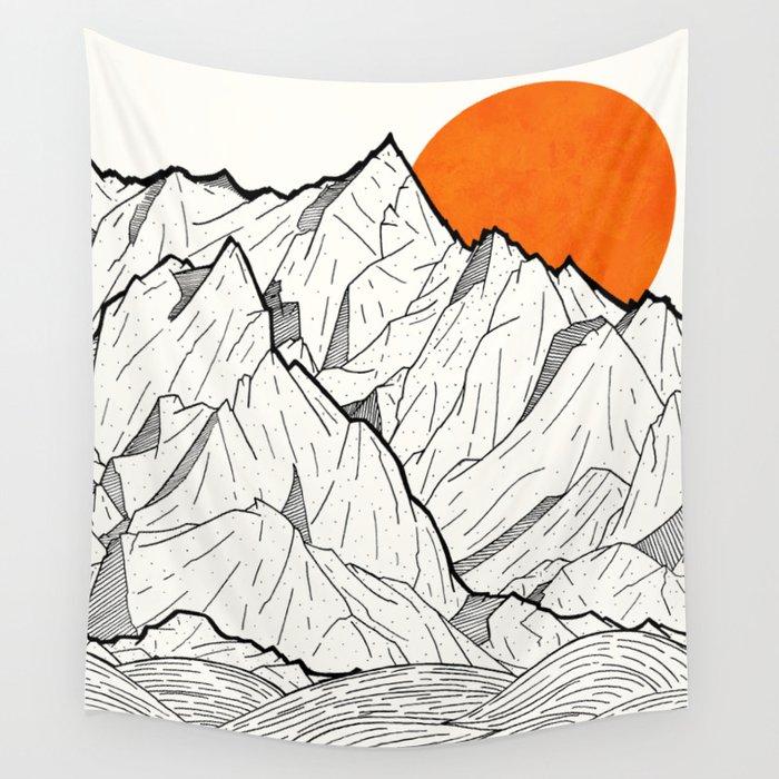 The orange sun Wall Tapestry