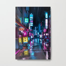 Cyberpunk Aesthetic in Tokyo at Night Vertical Metal Print