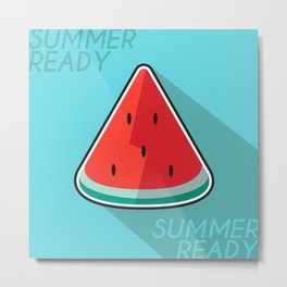 Flat Design of Watermelon Welcoming The Summer Metal Print