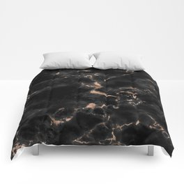 Chic abstract rose gold black elegant marble Comforters