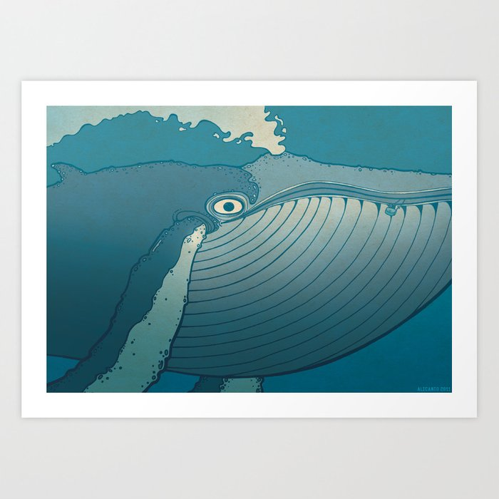 A whale ate her by mistake and spat her up in the sky Art Print
