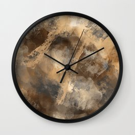Stormy Abstract Art in Brown and Gray Wall Clock