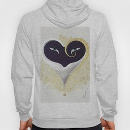 """Black & Gold Filigree Heart"" Design Hoody"