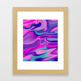 Liquid Bold Vibrant Colorful Abstract Paint in Blue, Pink and Purple Framed Art Print