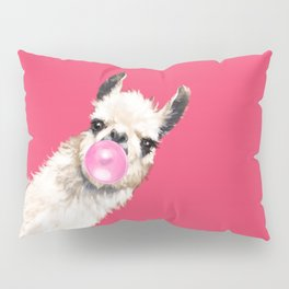 Bubble Gum Sneaky Llama in Red Pillow Sham