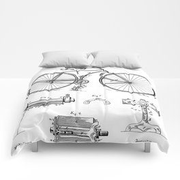 Bicycle Patent - Cyclling Art - Black And White Comforters