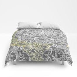 Yellow & White Mandalas on Grey Comforters