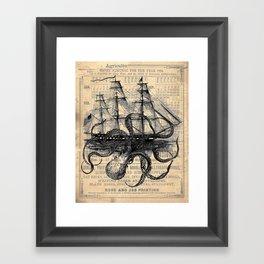 Octopus Kraken attacking Ship Antique Almanac Paper Framed Art Print