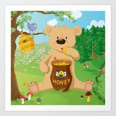 Baer with honey Art Print