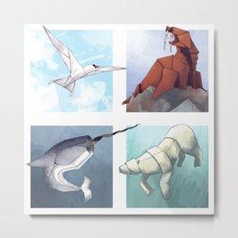 Arctic Origami Metal Print
