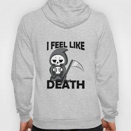 I Feel Like Death I Need Coffee Funny Cartoon Gift Hoody