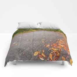 Winding Autumn Forest Road Comforters