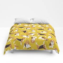 beagle scatter yellow Comforters