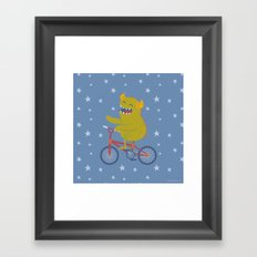 Cycling Monster Framed Art Print