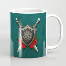 Shield with Chinese Dragon, Roses and Crossed Swords on Blue Coffee Mug