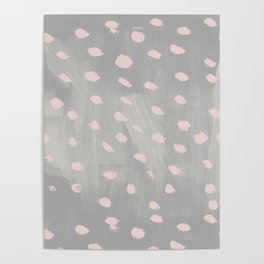 Creative gray blush pink watercolor paint brushstrokes Poster