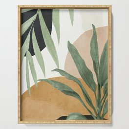 Abstract Art Tropical Leaves 4 Serving Tray