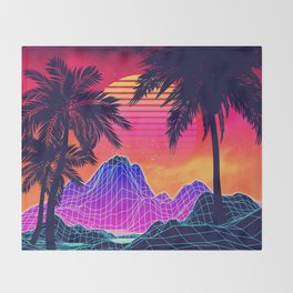 Neon glowing grid rocks and palm trees, futuristic landscape design Throw Blanket