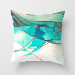 Teal on Silk Throw Pillow
