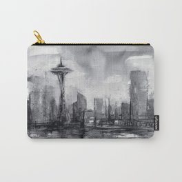 Seattle Skyline Painting Watercolor Black and White Space Needle Carry-All Pouch