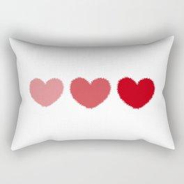 Three fuzzy hearts Rectangular Pillow