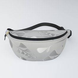 Vector pattern from silver black plants and grass blades on a gray background in vintage style. For Fanny Pack