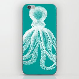 Octopus | Teal and White iPhone Skin