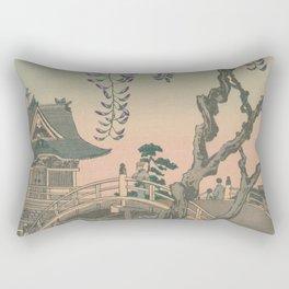a Bridge and a House. Ukiyoe Landscape Rectangular Pillow