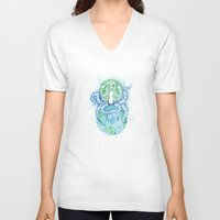 starbucks V-neck T-shirts featuring Starbucks Apocalypes Print by Endia Kneipp