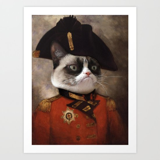 Angry cat. Grumpy General Cat.  Art Print
