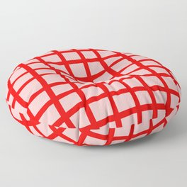 Abstract Plaid red Floor Pillow