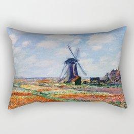 Claude Monet Tulip Field In Holland Rectangular Pillow